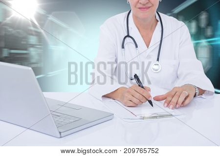 Midsection of female docotor writing prescription at desk against composite 3D image of different application interface
