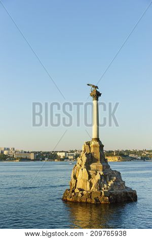 Monument To The Scuttled Ships In The Sevastopol Bay At Sunset