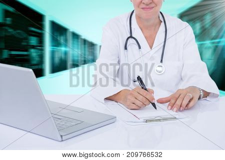 Midsection of female doctor writing prescription at desk against 3D blue vignette background