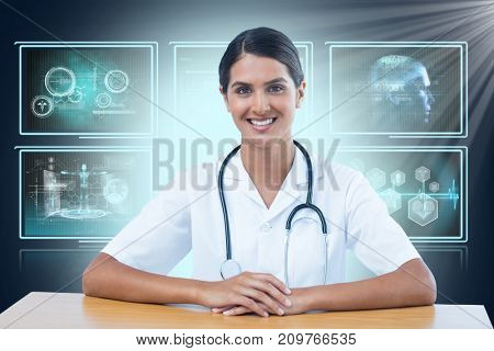Portrait of smiling female doctor sitting at desk against composite 3D image of different application interface