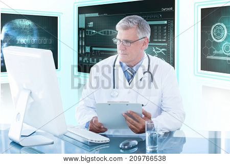 Male doctor holding clipboard while looking at computer monitor against white background with 3D vignette