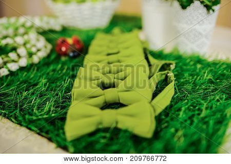 Wedding composition of green bow ties on the grass with white flowers close up