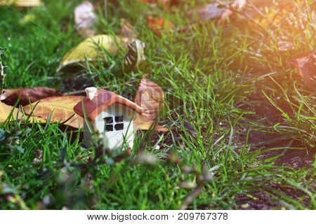 a doll house on the green grass next to the autumn yellow foliage and sunlight