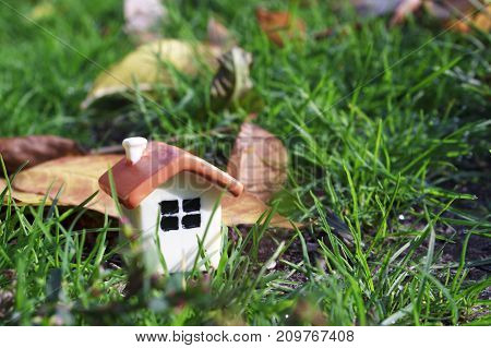 doll house on the green grass next to the autumn yellow foliage, close up