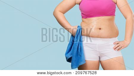 Female body fat blue towel white curve close-up