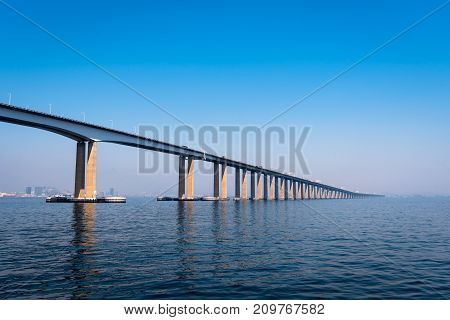 Rio - Niteroi Bridge Crossing the Guanabara Bay and Connecting Rio de Janeiro and Niteroi