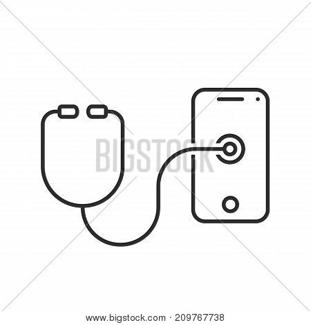thin line stethoscope testing phone. concept of advice, refit, check, first aid, expert, test, treatment, helpline, medicine. flat style modern logotype design vector illustration on white background