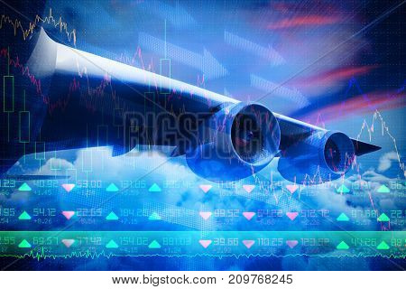 Composite 3d image of graphic airplane against stocks and shares