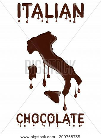 Italian chocolate. Conceptual outline of Italy made with chocolate.