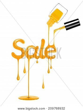 Inscription Sale made from a stream and drops of yellow nail polishisolated on a white background