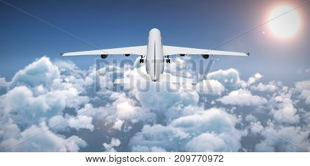 3D graphic airplane against idyllic view of bright sun over cloudscape during sunny day