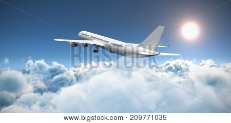 3D graphic airplane against scenic view of sun over cloudscape during sunny day