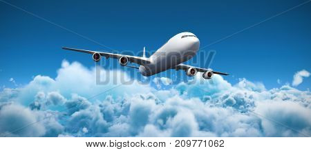 3D graphic airplane against idyllic view of cloudscape against sky