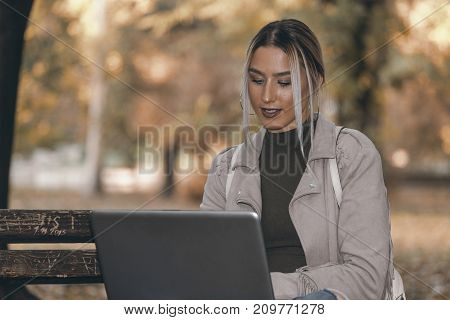 Girl Working At A Laptop In The Park