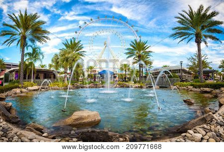 ORLANDO, FLORIDA, USA - JANUARY 06, 2017: The Orlando Eye is a 400 feet tall ferris wheel in the heart of Orlando and the largest observation wheel on the east coast, United States