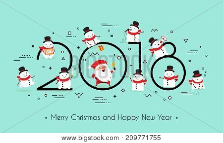 2018 year. Merry Christmas and Happy New Year. Creative headline with Santa Claus and funny snowmen. Memphis style. Minimalism. Isolated on a monophonic background. Vector illustration