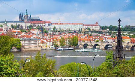 Old Prague Cityscape With Charles Bridge