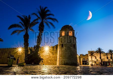 Sousse.Tunisia.May 29 2017. the old town of Sousse Medina in the moonlight night in the month of Ramadan