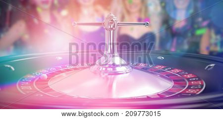 Smiling friends having hen party against close up image of 3d roulette wheel