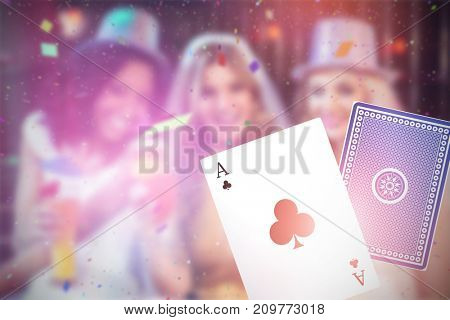 Composite 3D image of girls celebrating bachelorette party against ace of clubs card