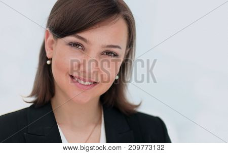 Successful business woman isolated on white