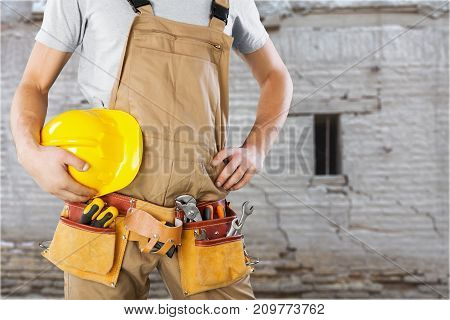 Man work helmet worker construction side white blue