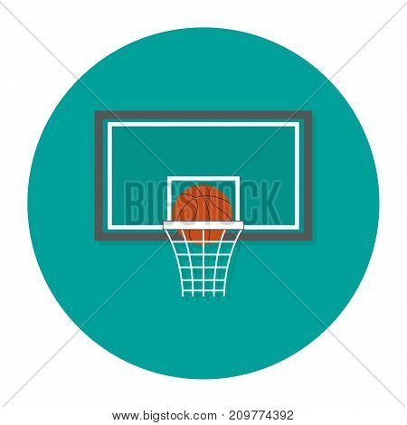 Flat Vector Illustration Of Play Basketball. Flat Vector Icon. Basketball Icon On Blue Background. S