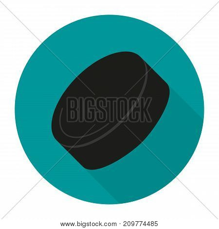 Sport icon with ice hockey puck in flat style. Vector illustration.