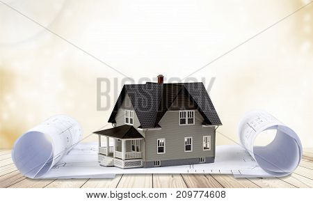Model classic house background object design small