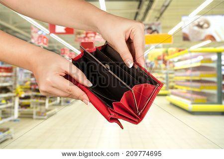 Empty hands wallet red white background money