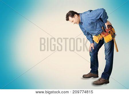 Man back pain feeling color blue background