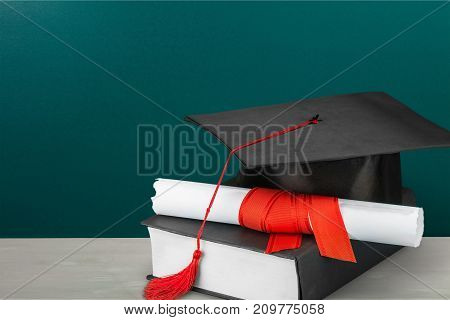 Hat diploma graduation health care mortar board color image