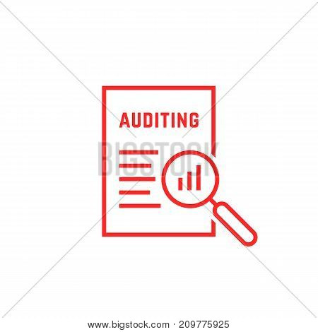 red linear document like auditing. concept of auditor, fax, seo, scrutiny, annual verification, evaluation, info, growth, forecast. flat style logotype design vector illustration on white background