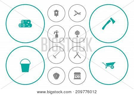 Collection Of Scissors, Store, Bucket And Other Elements.  Set Of 12 Farm Icons Set.