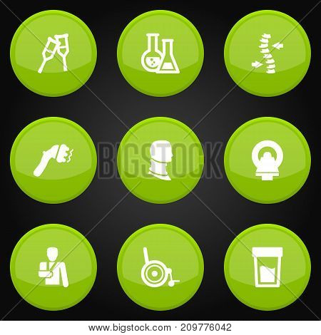 Collection Of Injury, Broken Neck, Urine Tester And Other Elements.  Set Of 9 Healthy Icons Set.