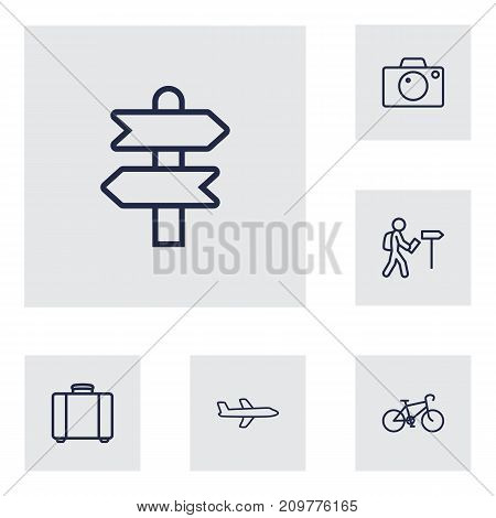 Collection Of Suitcase, Foreigner, Direction And Other Elements.  Set Of 6 Travel Outline Icons Set.