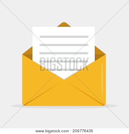 Open envelope with sheet of paper icon isolated on white background. Vector illustration