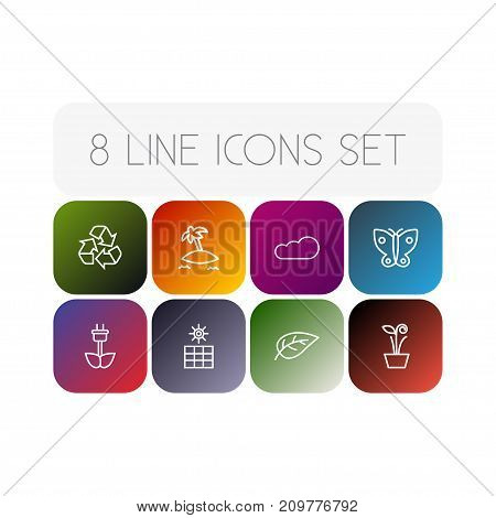 Collection Of Cloud, Leaf, Sun Power And Other Elements.  Set Of 8 Ecology Outline Icons Set.