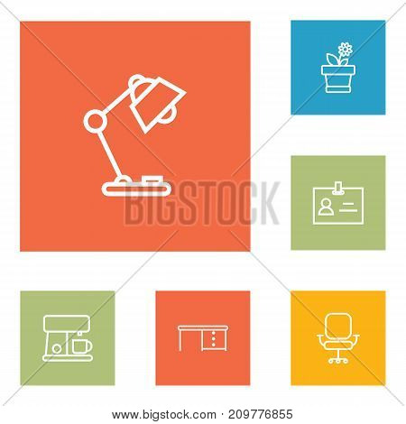 Collection Of Flowerpot, Chair, Badge Id And Other Elements.  Set Of 6 Bureau Outline Icons Set.