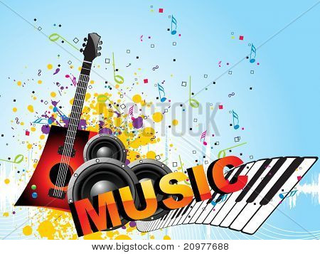 abstract grungy, colorful musical notes background with speaker, piano and guitar poster