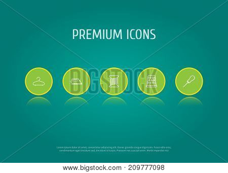 Collection Of Iron, Awl, Hanger And Other Elements.  Set Of 5 Stitch Outline Icons Set.