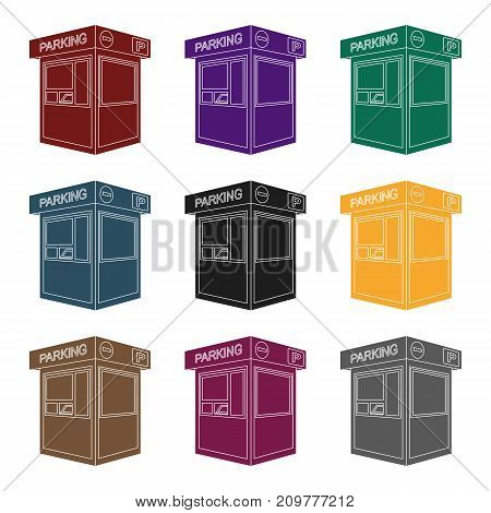 Parking toll booth icon in black design isolated on white background. Parking zone symbol stock vector illustration.