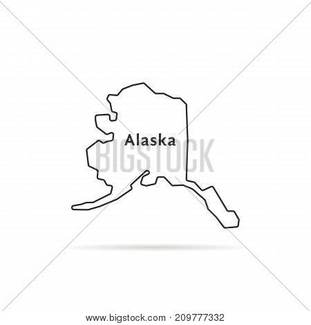thin line alaska map with shadow. concept of arctic, topographical, ak, government, terrain, northern land, federation. flat style trend modern logotype design vector illustration on white background