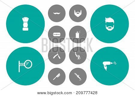 Collection Of Blow-Dryer, Razor, Instrument And Other Elements.  Set Of 12 Shop Icons Set.