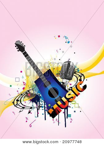 colorful grunge, musical notes background with musical instrument