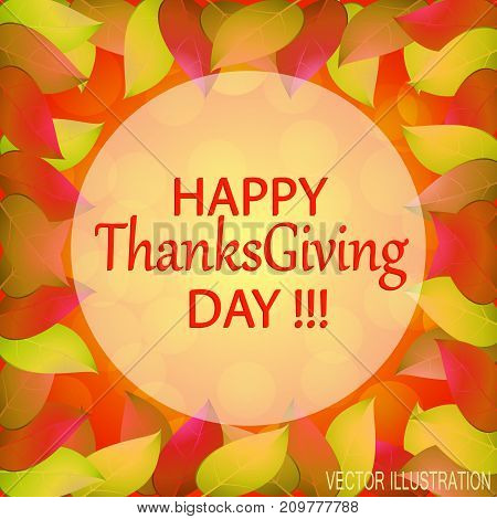 Happy Thanksgiving day. Autumn background with yellow leaves. Templates for place cards banners flyers presentations reports. Stock vector illustration.
