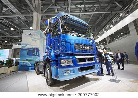 MOSCOW, SEP, 5, 2017: Russian KAMAZ trucks exhibits on Commercial Transport Exhibition ComTrans-2017. Russian famous commercial trucks Kamaz cars. Russian transportation vehicles. New trucks. New cars