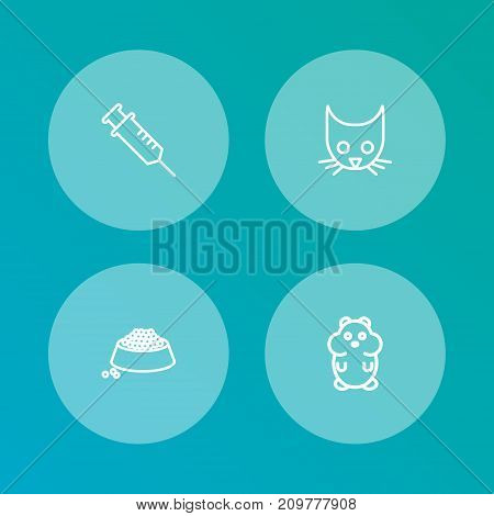 Collection Of Hamster, Puppy, Vaccination And Other Elements.  Set Of 4 Animals Outline Icons Set.