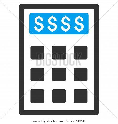 Book-Keeping Calculator vector icon. Flat bicolor blue and gray symbol. Pictogram is isolated on a white background. Designed for web and software interfaces.