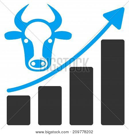 Cattle Chart Grow Up vector icon. Flat bicolor blue and gray symbol. Pictogram is isolated on a white background. Designed for web and software interfaces.